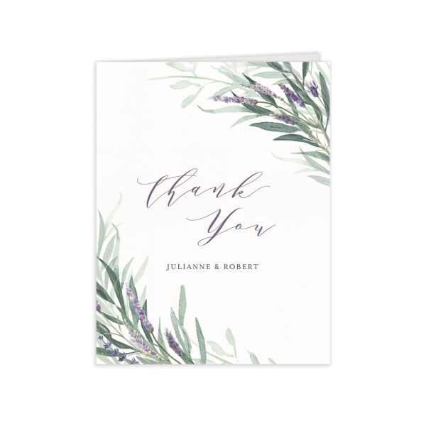 lavender sage wedding thank you cards