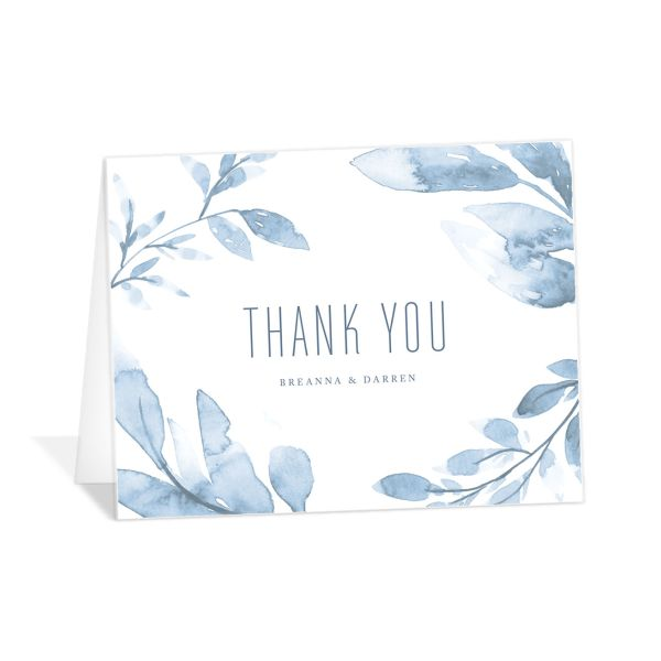 painted leaves thank you cards