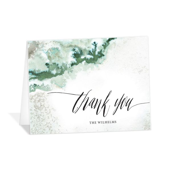 painted ethereal thank you cards in green