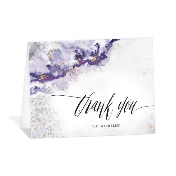 painted ethereal thank you cards in purple