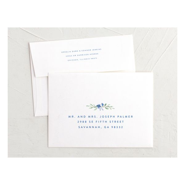 watercolor crest recipient address printing envelopes in blue