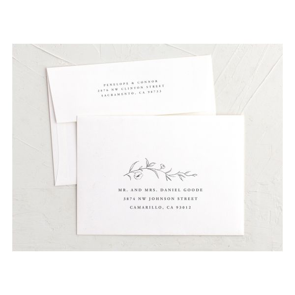 graceful botanical recipient address envelope printing in grey