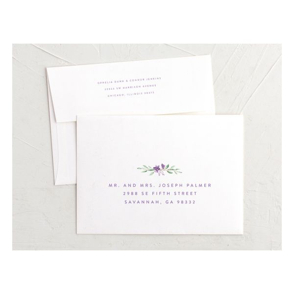 watercolor crest recipient address printing envelopes in purple