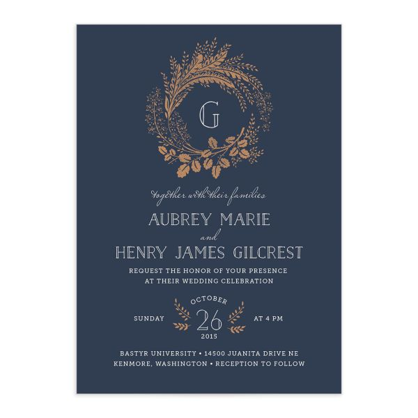 woodsy wreath wedding invitations in navy