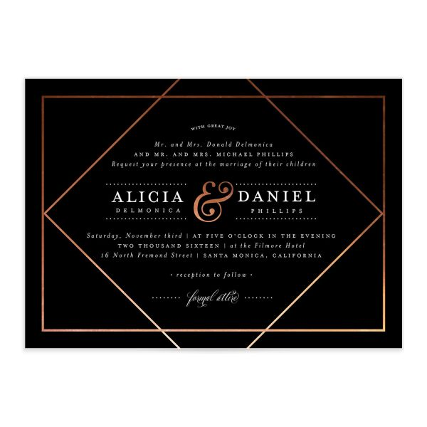 Formal Ampersand Wedding Invite front in black