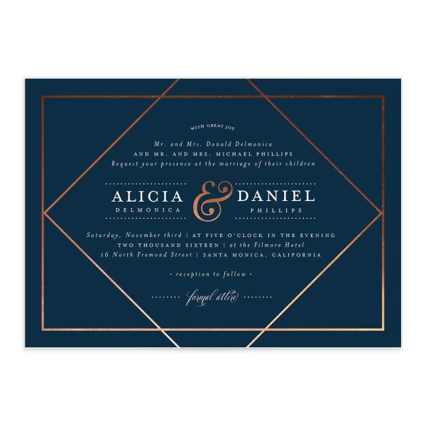 Formal Ampersand Wedding Invite front in navy