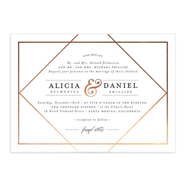 Formal Ampersand Wedding Invite front in white