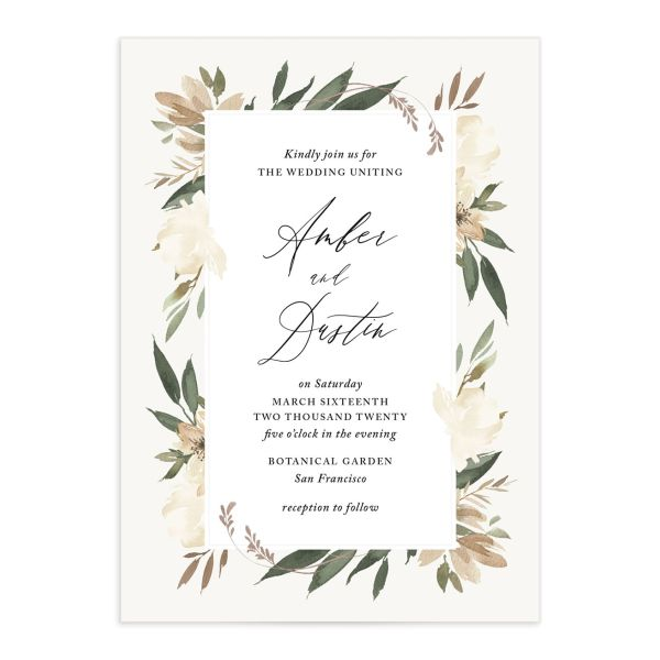 neutral greenery wedding invitations in green