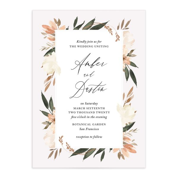 neutral greenery wedding invites in orange