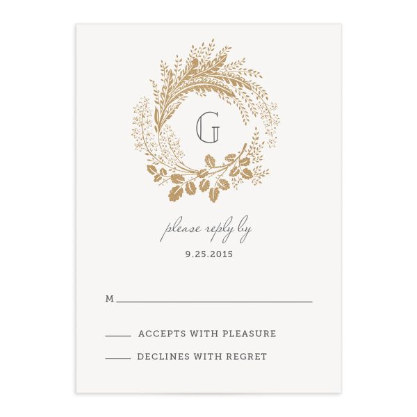woodsy wreath wedding response cards in grey