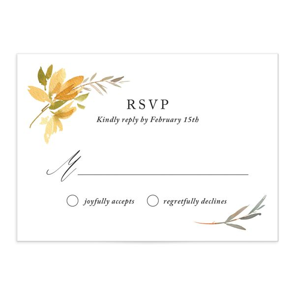 neutral greenery wedding response card in yellow