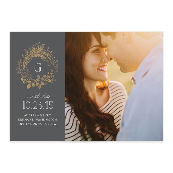 woody wreath save the date with photo grey