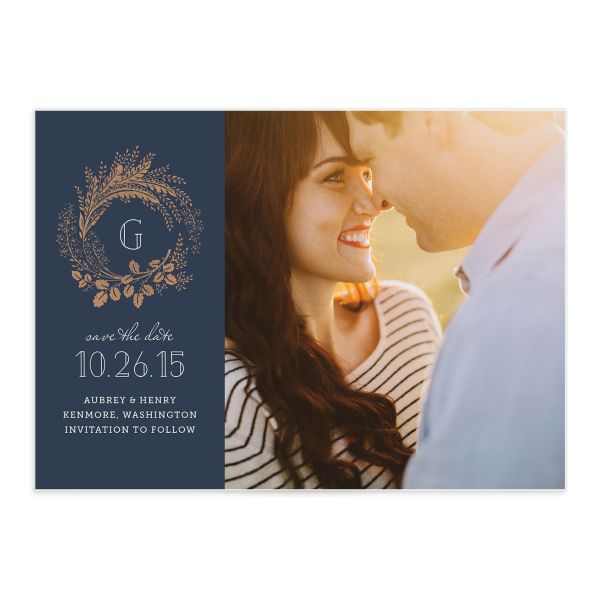 woodsy wreath navy photo save the date cards