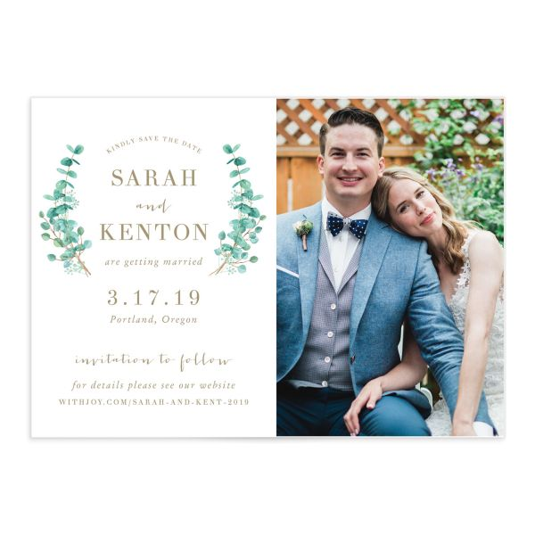 Elegant Eucalyptus save the date card front