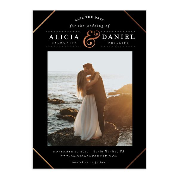 Formal Ampersand Save the Date cards front in black
