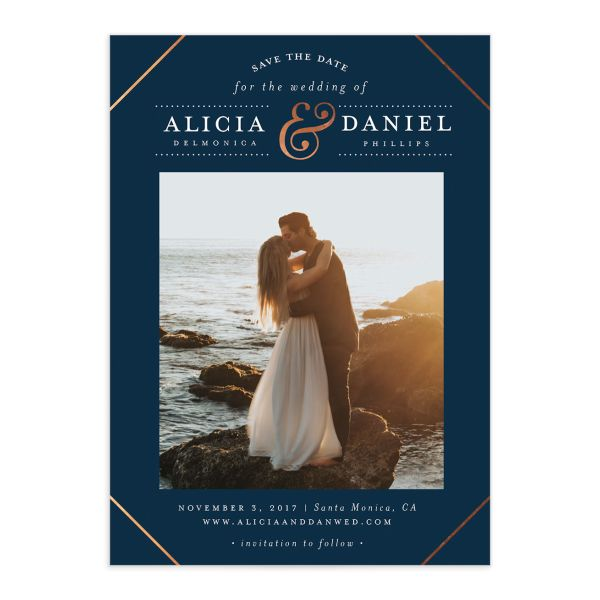 Formal Ampersand Save the Date cards front in navy