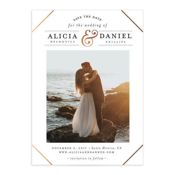 Formal Ampersand Save the Date cards front in white