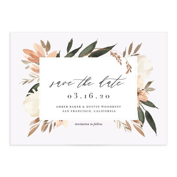 neutral greenery save the dates in orange
