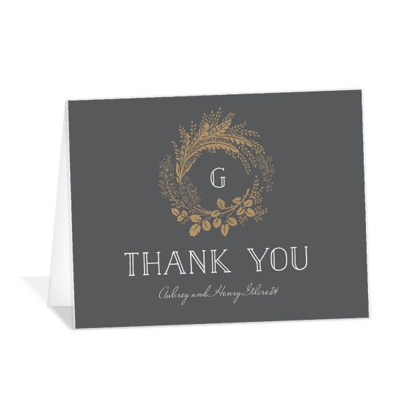 woodsy wreath thank you cards in grey
