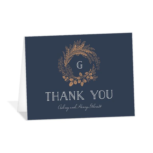 woodsy wreath thank you card in navy