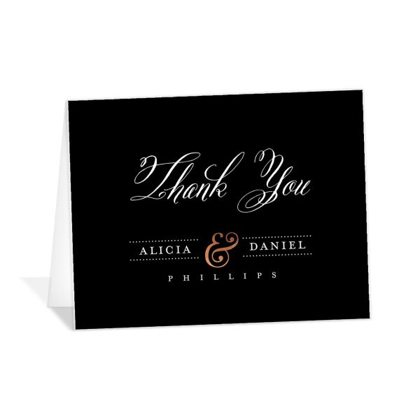Formal Ampersand folded thank you cards black