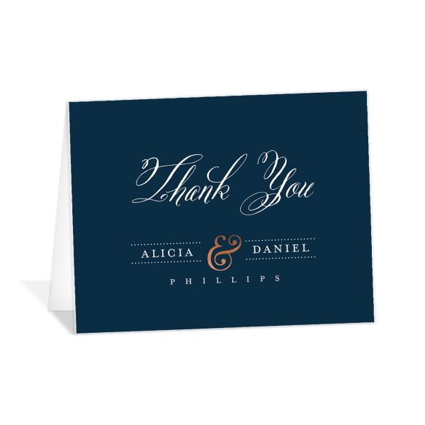 Formal Ampersand folded thank you cards blue