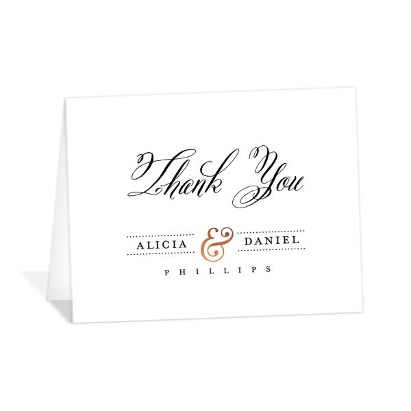 Formal Ampersand folded thank you cards white