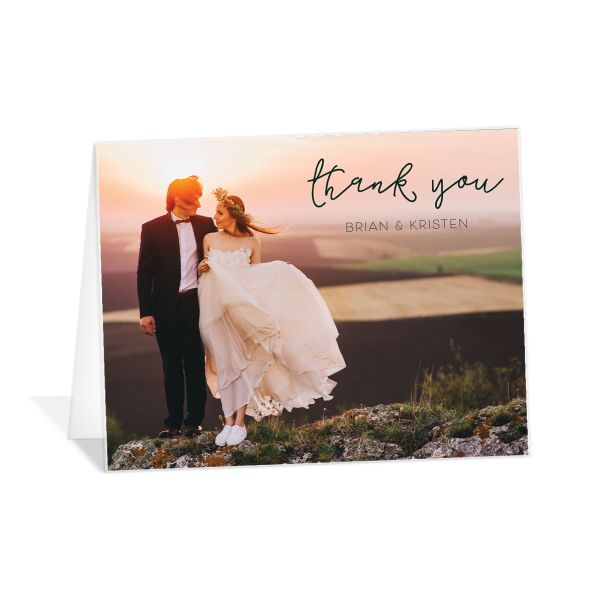 Gold Calligraphy Photo Thank You Cards in Green