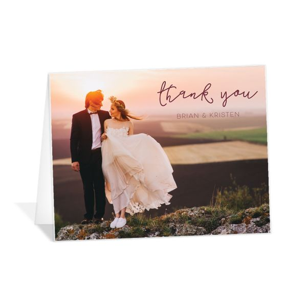 gold calligraphy photo thank you cards in burgundy