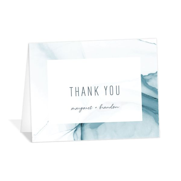 modern wave personalized wedding thank you cards