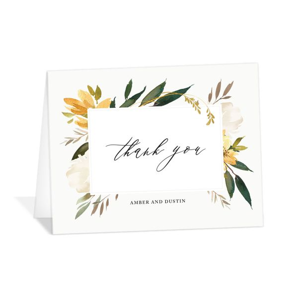 neutral greenery thank you cards in yellow