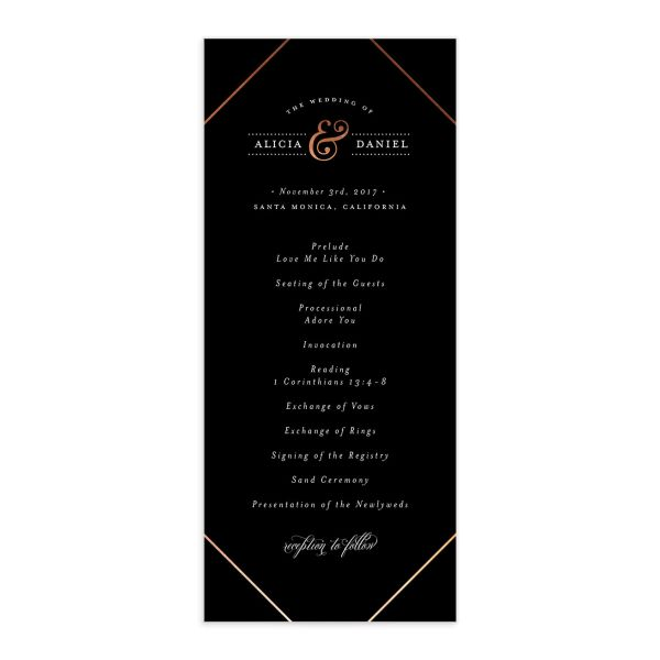 Formal Ampersand Wedding Programs front in black