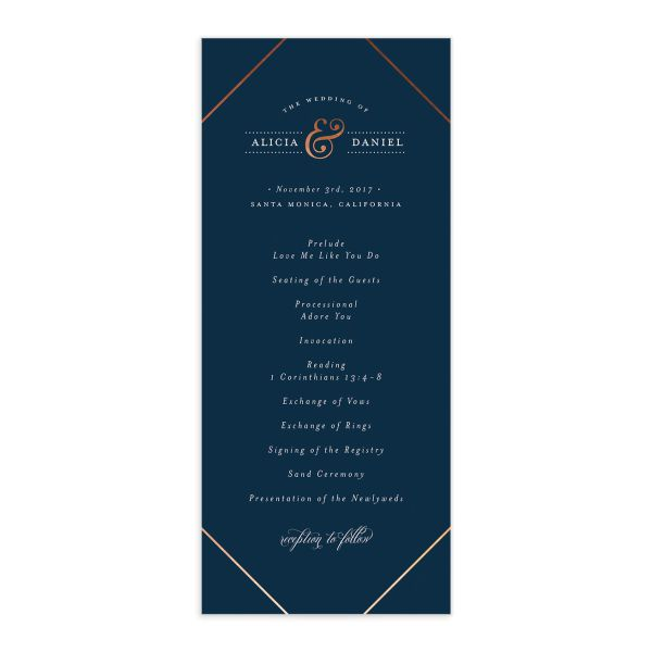 Formal Ampersand Wedding Programs front in navy