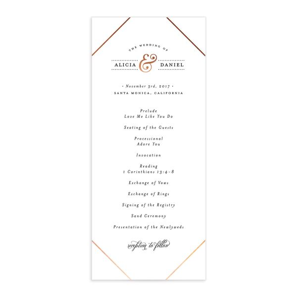 Formal Ampersand Wedding Programs front in white