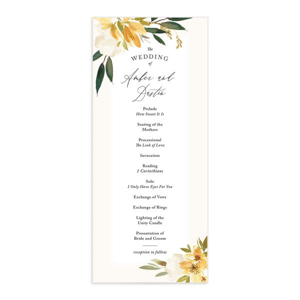 neutral greenery wedding programs in yellow