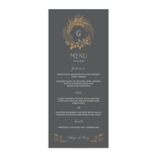 woodsy wreath wedding menus in grey