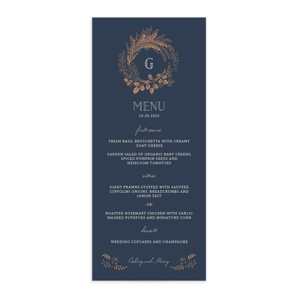 woodsy wreath wedding menu in navy
