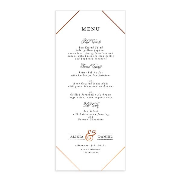 Formal Ampersand Menus front in white