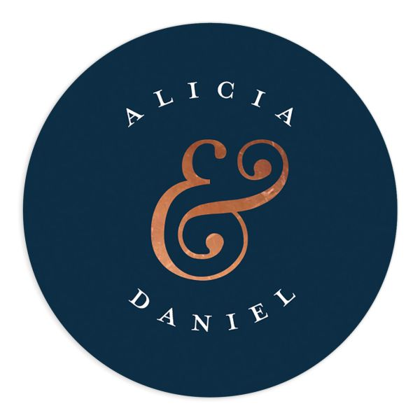 Formal Ampersand Wedding Stickers in navy