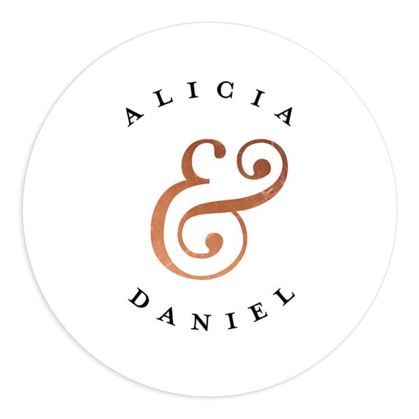 Formal Ampersand Wedding Stickers in white