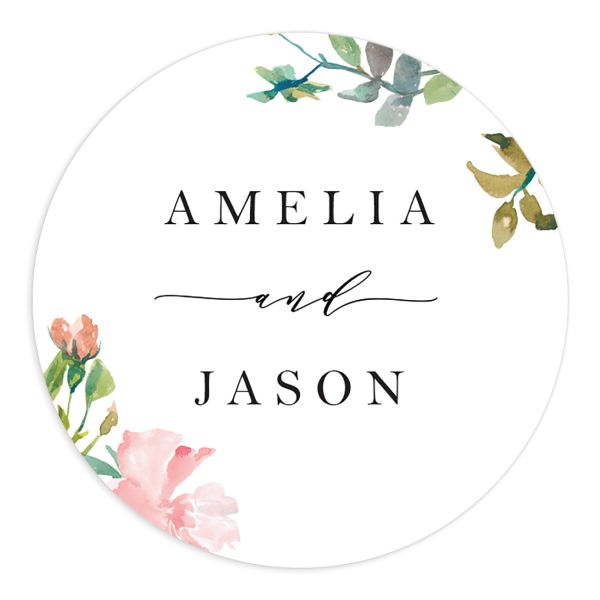 Minimal Floral wedding stickers