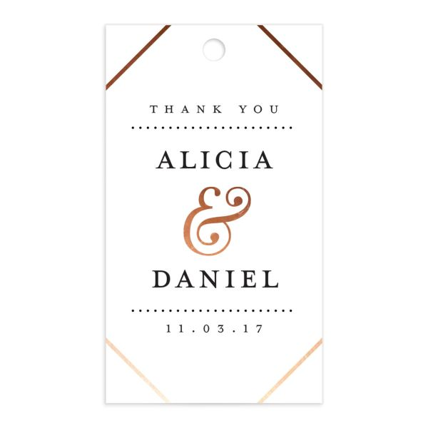 Formal Ampersand Wedding Gift Tag front in white