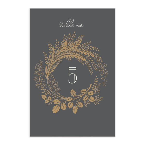 woodsy wreath wedding table numbers in grey