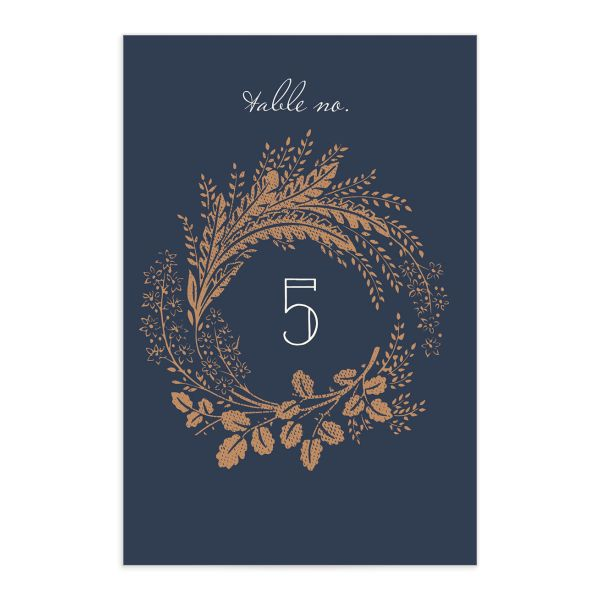 woodsy wreath wedding table numbers in navy