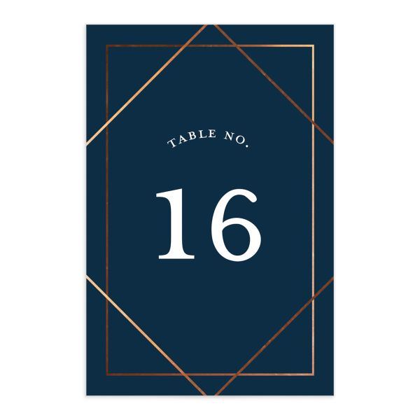 Formal Ampersand Wedding Table Number front in navy
