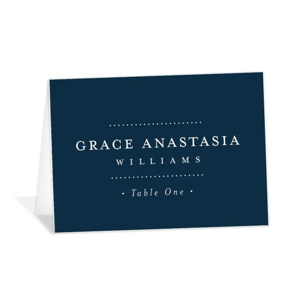 Formal Ampersand place cards and escort cards in navy