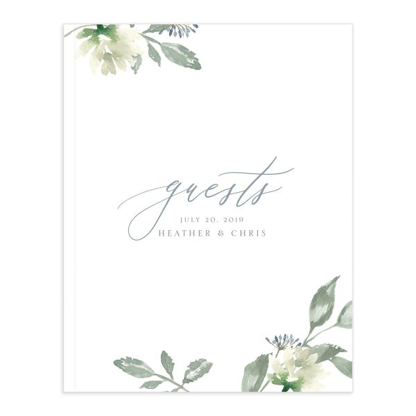 Dusted Calligraphy wedding guest book in blue