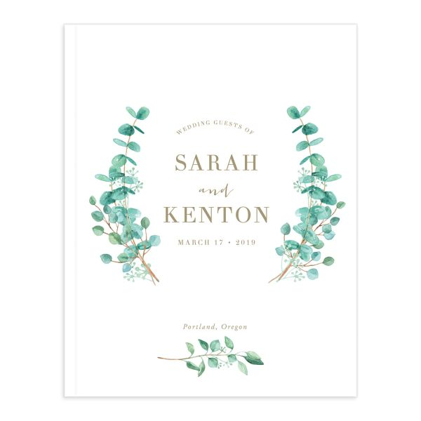 Elegant Eucalyptus guest book front cover