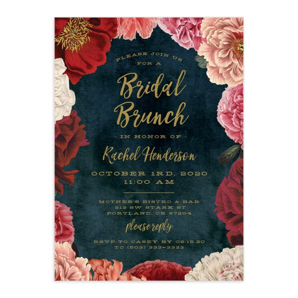 Midnight Peony Bridal Brunch Invitations closeup front