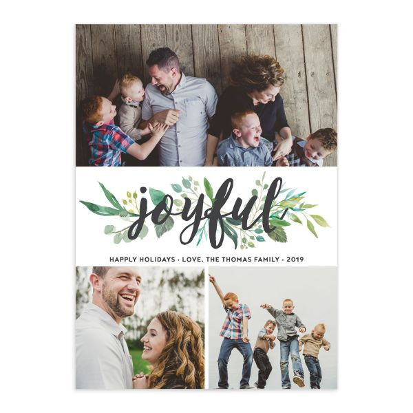 joyful greenery holiday card with photos